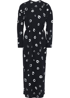 Sonia Rykiel Woman Gathered Printed Crepe Maxi Dress Black