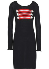 Sonia Rykiel Woman Intarsia Silk And Cotton-blend Mini Dress Black