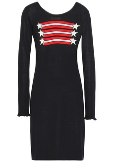 Sonia Rykiel Woman Intarsia Silk And Cotton-blend Mini Dress Black