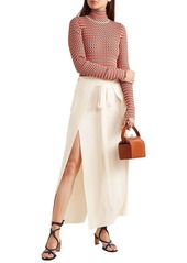 Sonia Rykiel Woman Layered Stretch-knit Maxi Skirt Cream
