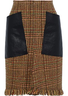 Sonia Rykiel Woman Leather-paneled Wool-blend Tweed Pencil Skirt Camel