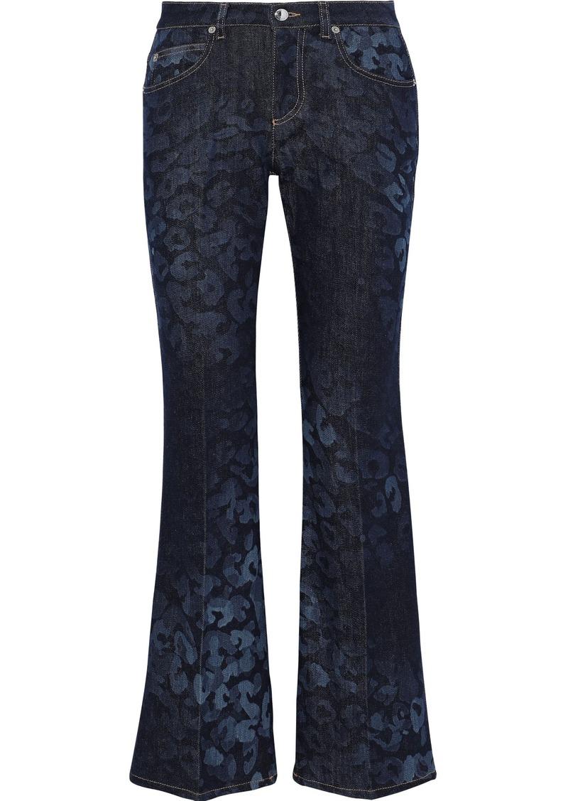 Sonia Rykiel Woman Leopard-print Mid-rise Bootcut Jeans Dark Denim