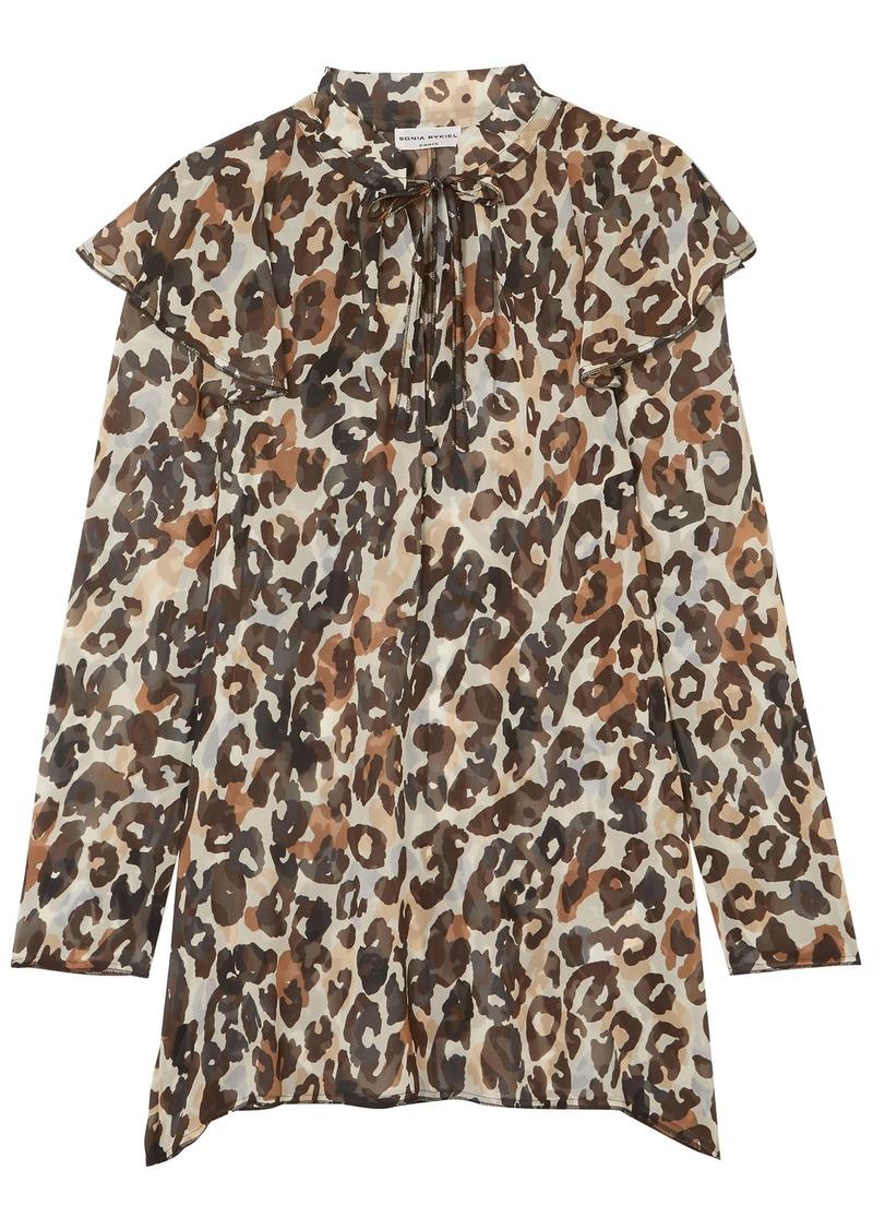 Sonia Rykiel Woman Leopard-print Silk-chiffon Blouse Animal Print