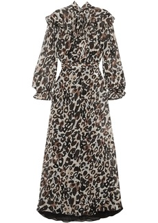 Sonia Rykiel Woman Leopard-print Silk-chiffon Midi Dress Animal Print
