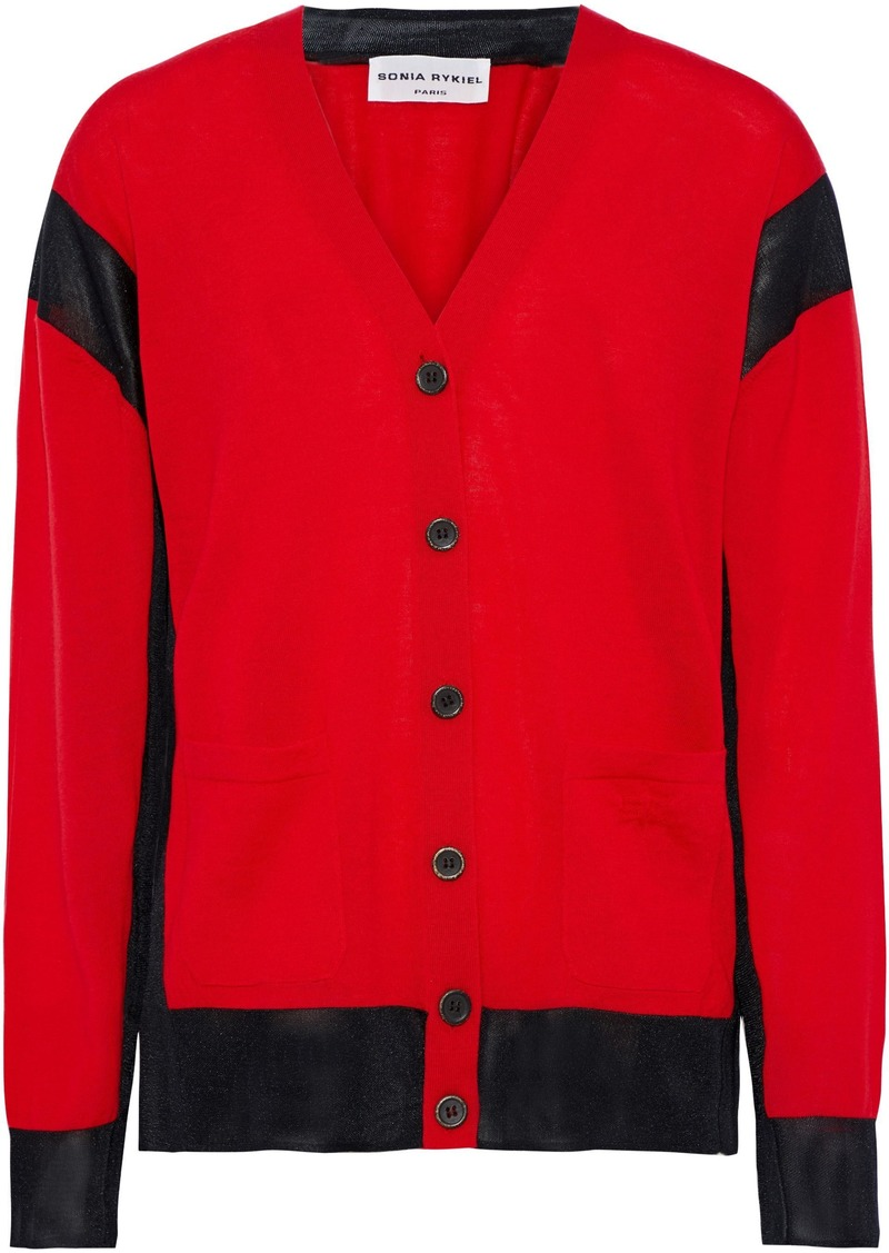 Sonia Rykiel Woman Mesh-trimmed Wool-blend Cardigan Red