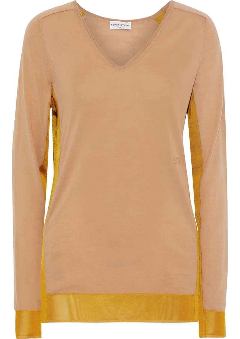 Sonia Rykiel Woman Mesh-trimmed Wool-blend Sweater Tan