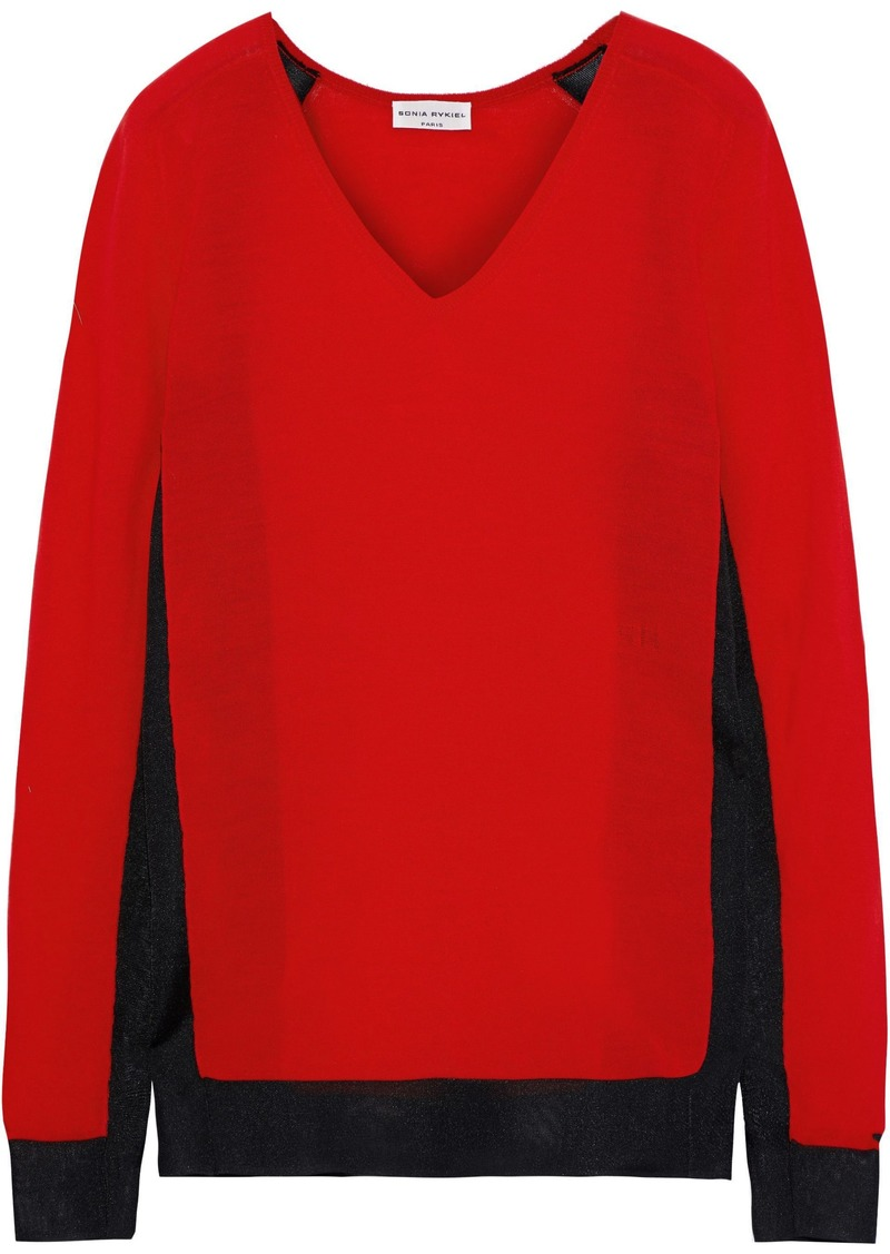 Sonia Rykiel Woman Mesh-trimmed Wool-blend Sweater Red