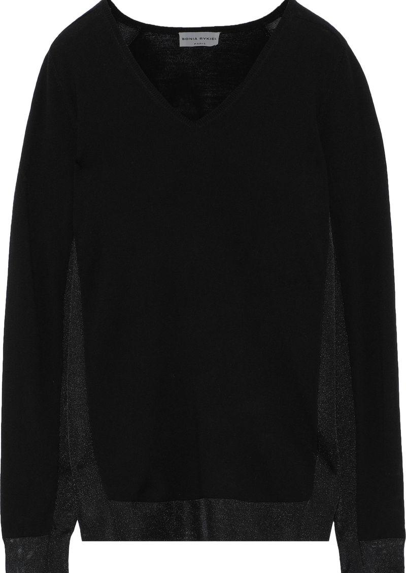 Sonia Rykiel Woman Mesh-trimmed Wool-blend Sweater Black