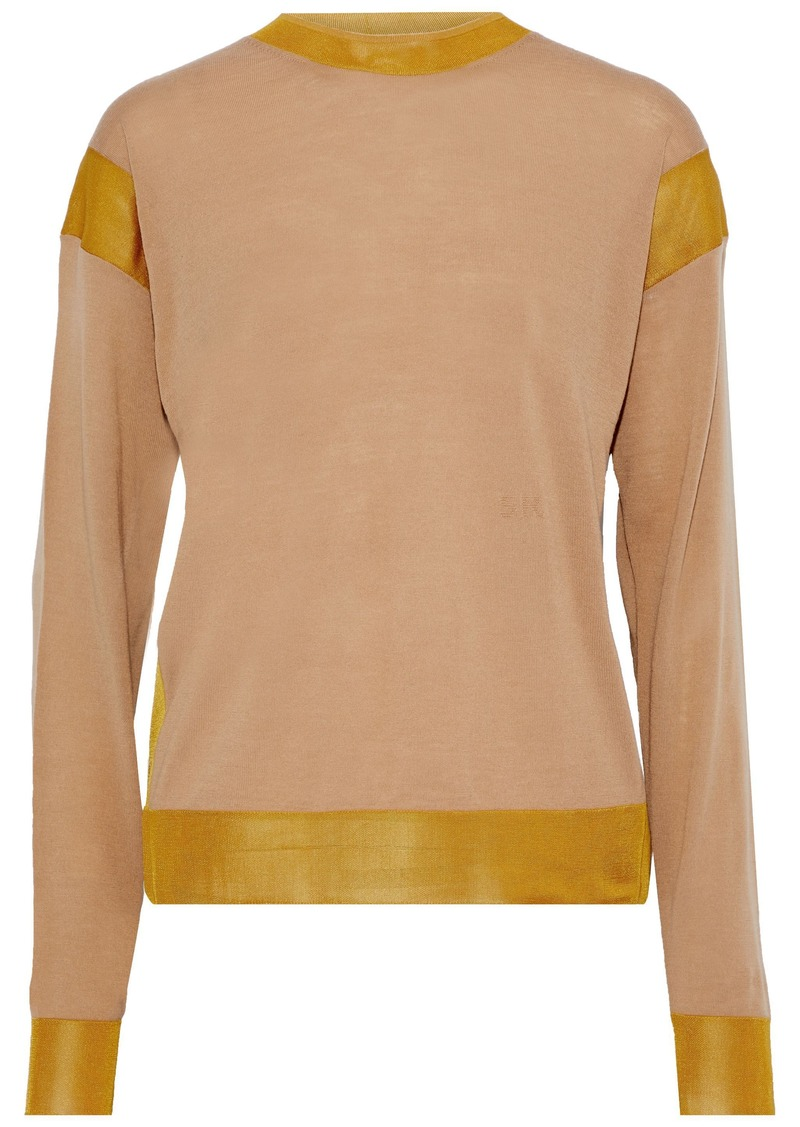 Sonia Rykiel Woman Mesh-trimmed Wool-blend Sweater Sand