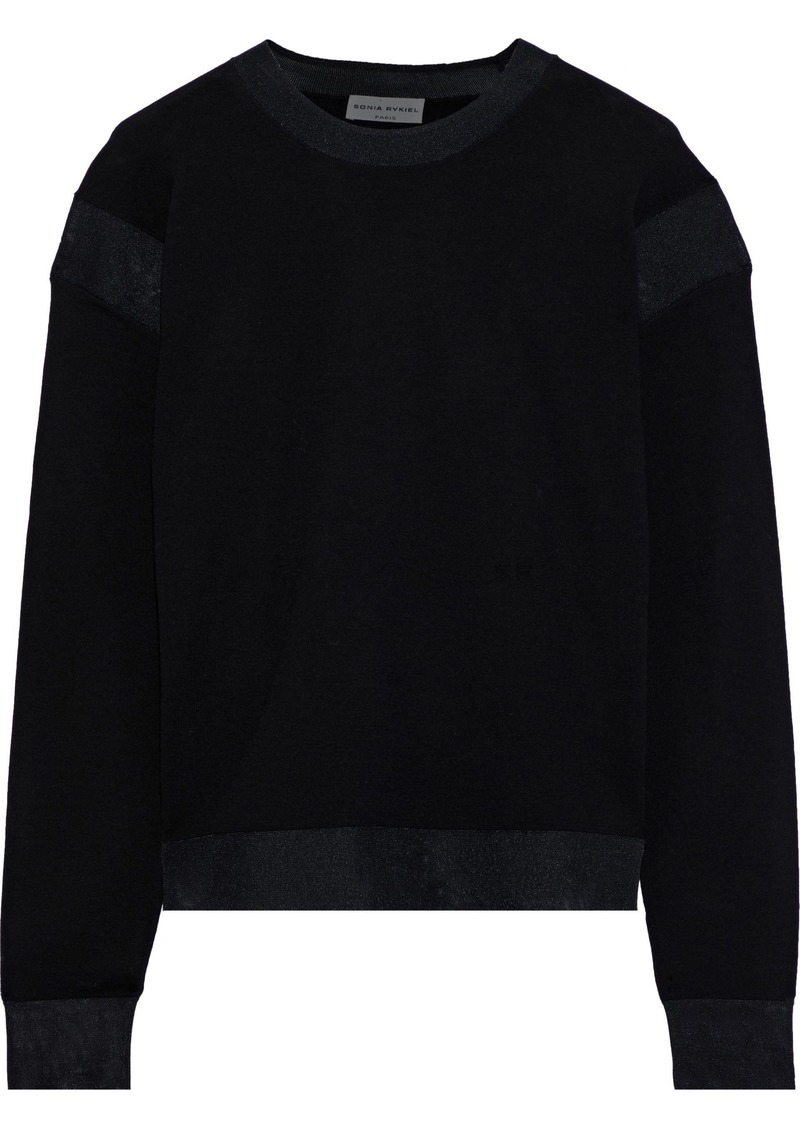 Sonia Rykiel Woman Mesh-trimmed Wool Sweater Black