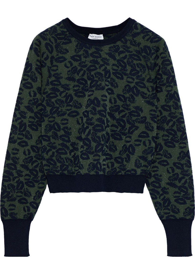 Sonia Rykiel Woman Metallic Cotton-blend Jacquard Sweater Army Green