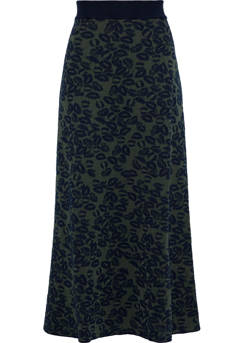 Sonia Rykiel Woman Metallic Jacquard-knit Maxi Skirt Army Green
