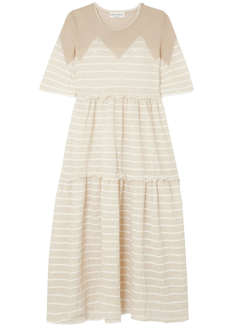 Sonia Rykiel Woman Metallic-paneled Striped Crinkled-jersey Midi Dress Beige