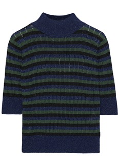 Sonia Rykiel Woman Metallic Striped Ribbed-knit Top Navy