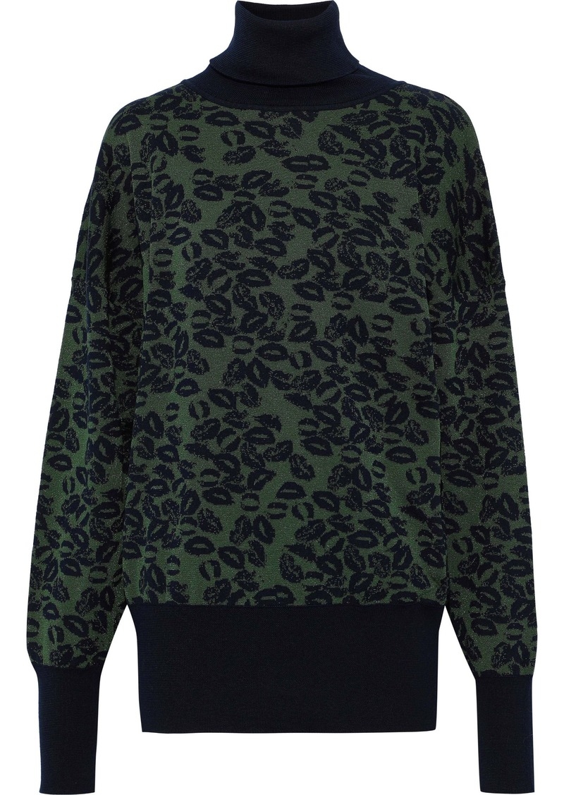 Sonia Rykiel Woman Metallic Wool-blend Jacquard Turtleneck Sweater Army Green