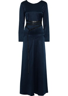 Sonia Rykiel Woman Open-back Leather-trimmed Satin-crepe Maxi Dress Navy