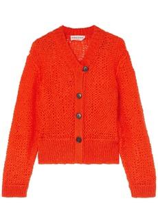 Sonia Rykiel Woman Open-knit Mohair-blend Cardigan Orange