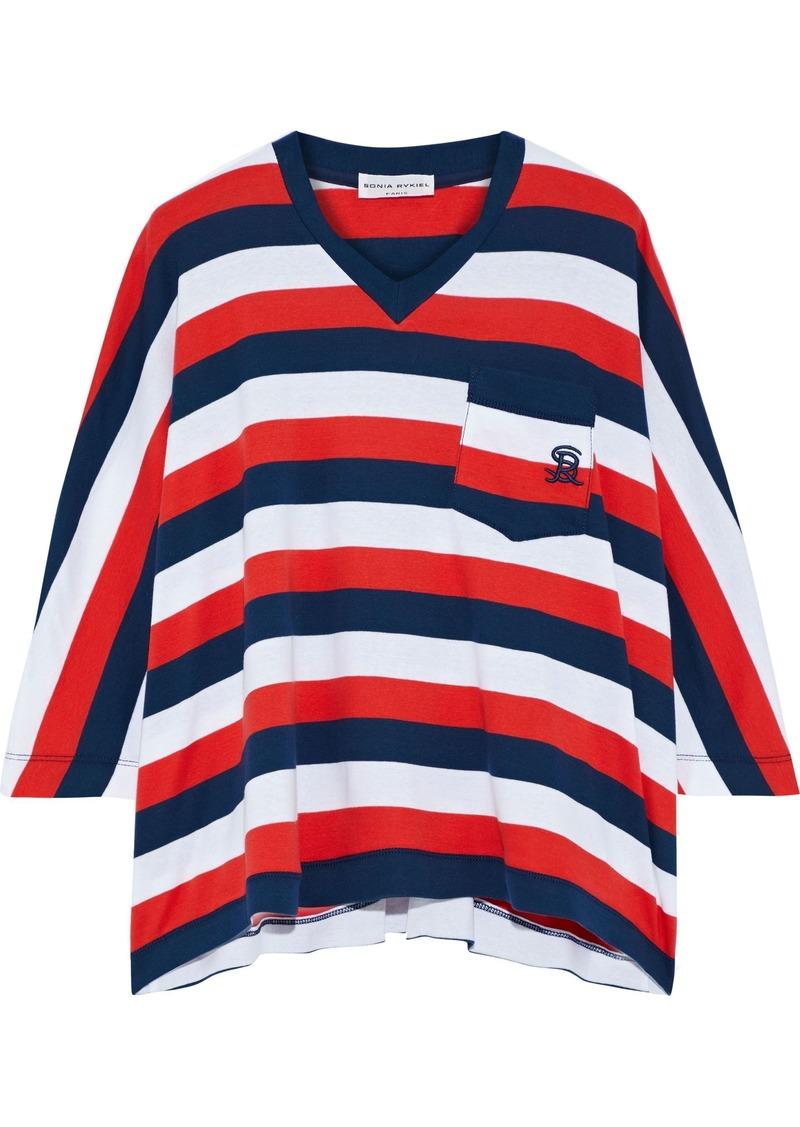 Sonia Rykiel Woman Oversized Striped Cotton-jersey T-shirt Red