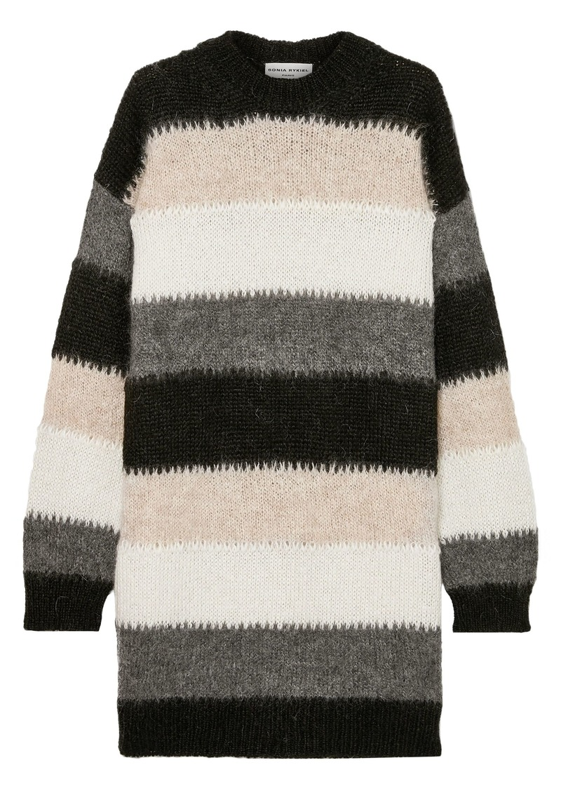 Sonia Rykiel Woman Oversized Striped Mohair-blend Sweater Black