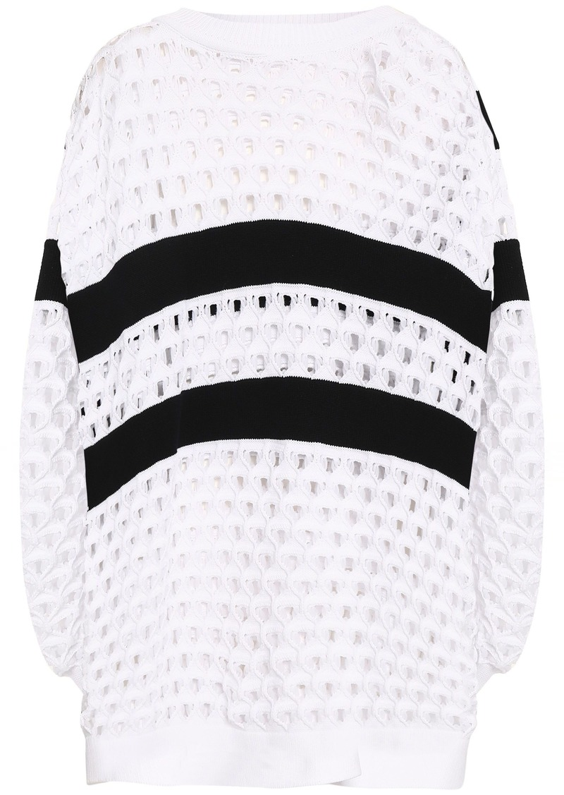 Sonia Rykiel Woman Button-detailed Striped Open-knit Sweater White