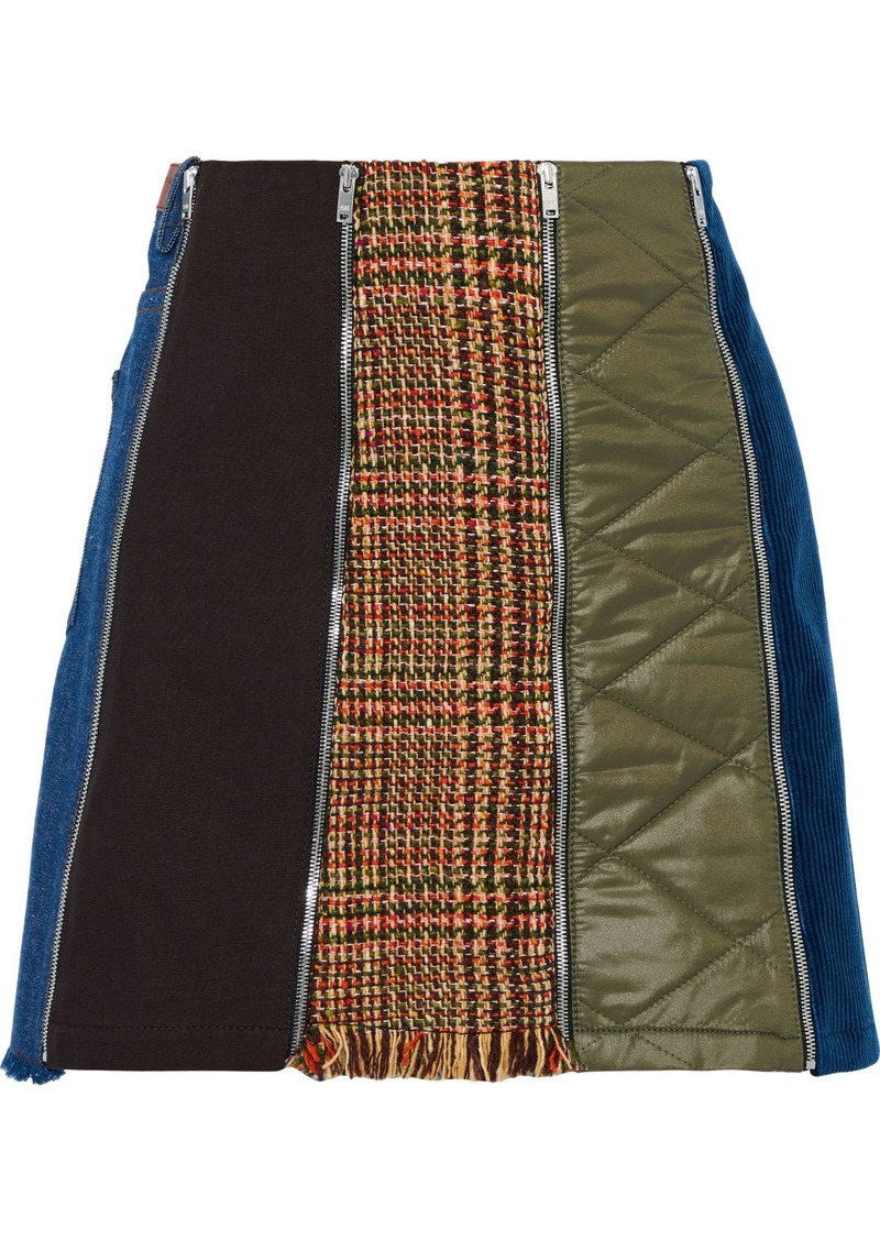 Sonia Rykiel Woman Paneled Canvas Tweed And Quilted Shell Mini Skirt Multicolor