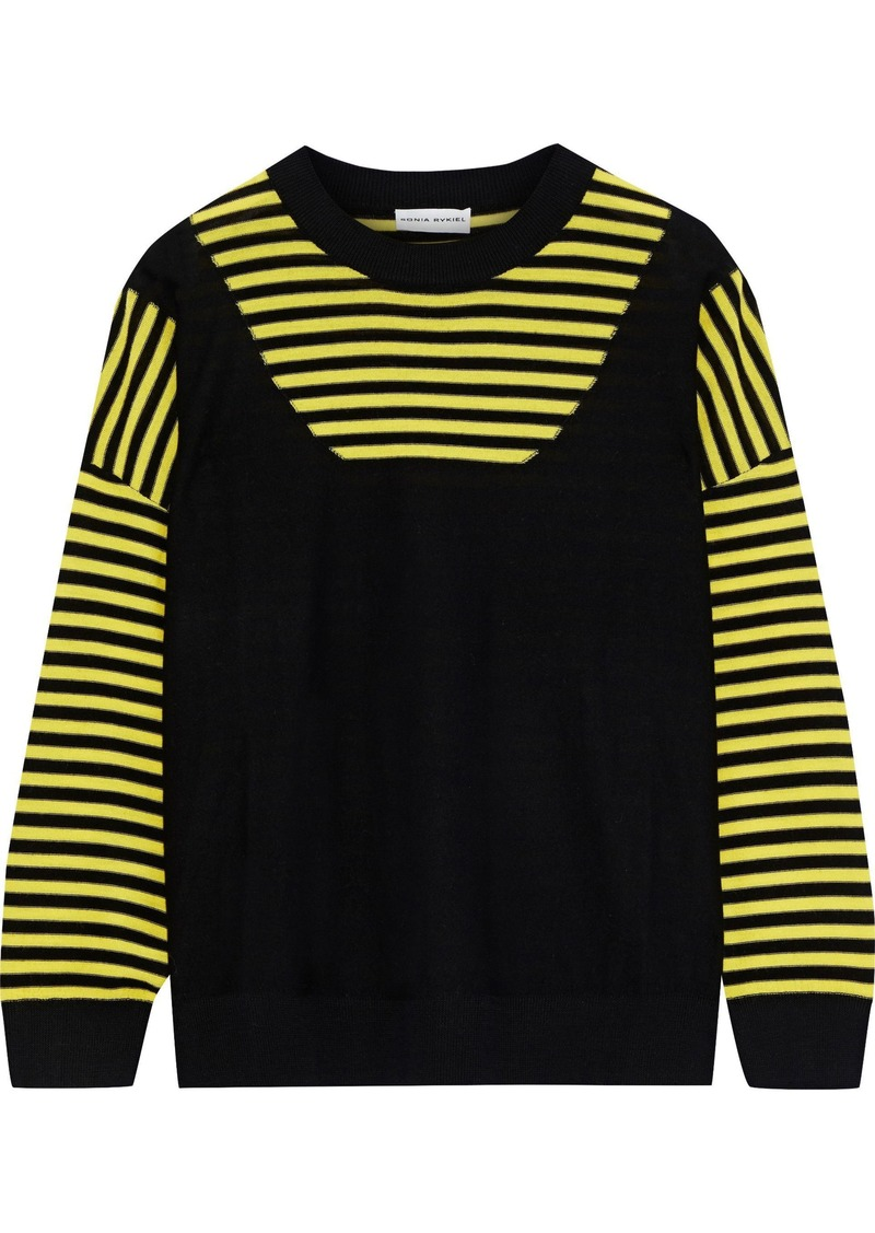 Sonia Rykiel Woman Paneled Striped Wool Sweater Yellow