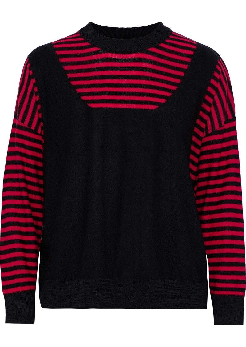Sonia Rykiel Woman Paneled Striped Wool Sweater Red