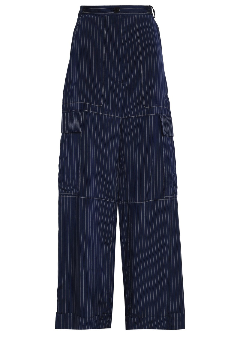 Sonia Rykiel Woman Pinstriped Sateen-twill Wide-leg Pants Indigo