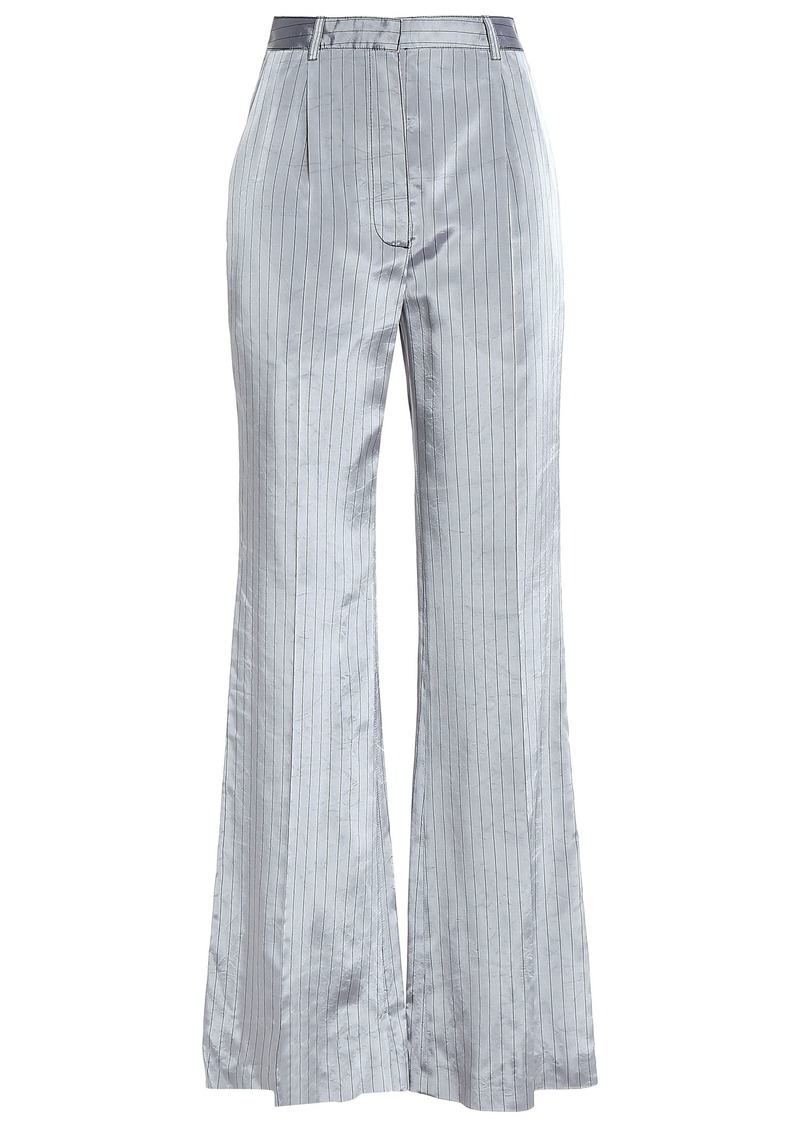 Sonia Rykiel Woman Pinstriped Satin-twill Wide-leg Pants Stone
