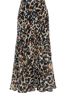 Sonia Rykiel Woman Pleated Leopard-print Silk-chiffon Midi Skirt Animal Print