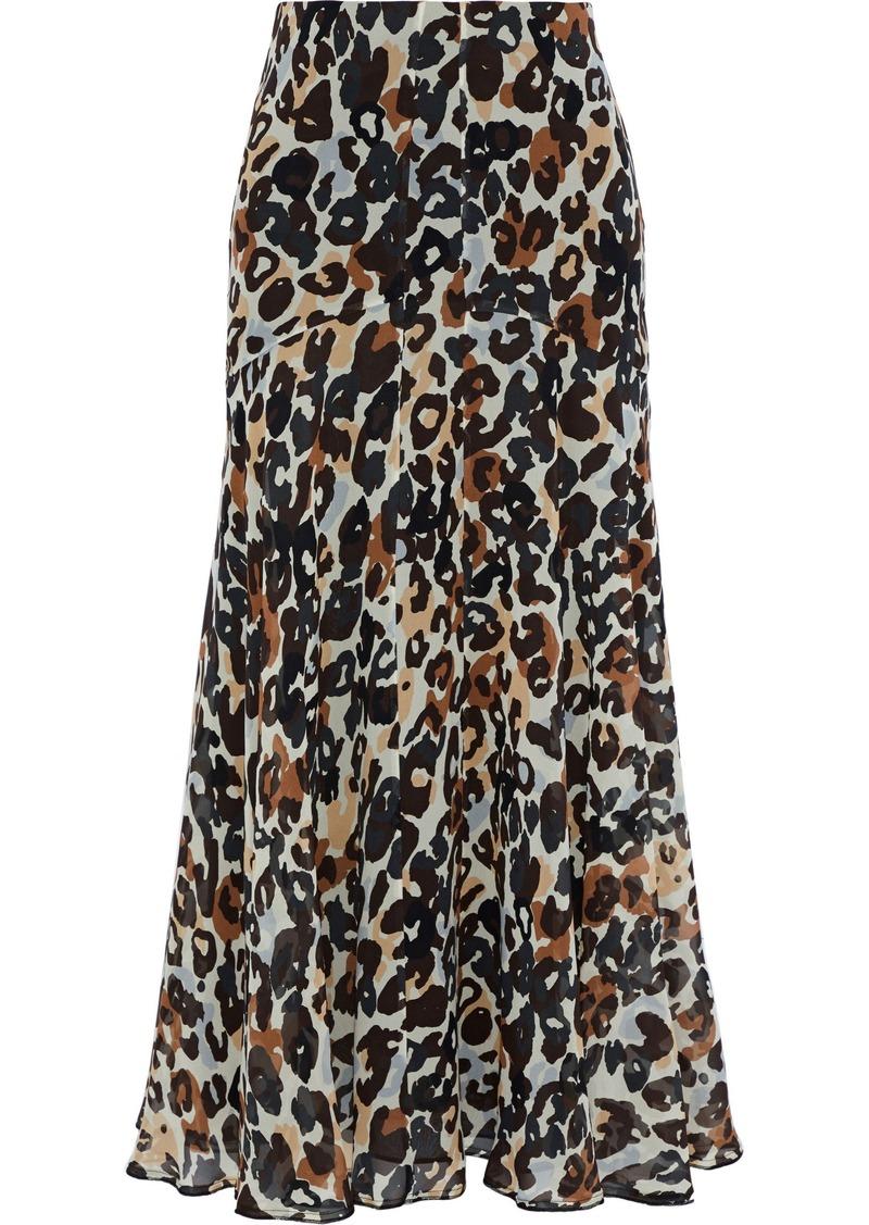 Sonia Rykiel Woman Pleated Leopard-print Silk-chiffon Midi Skirt Animal Print