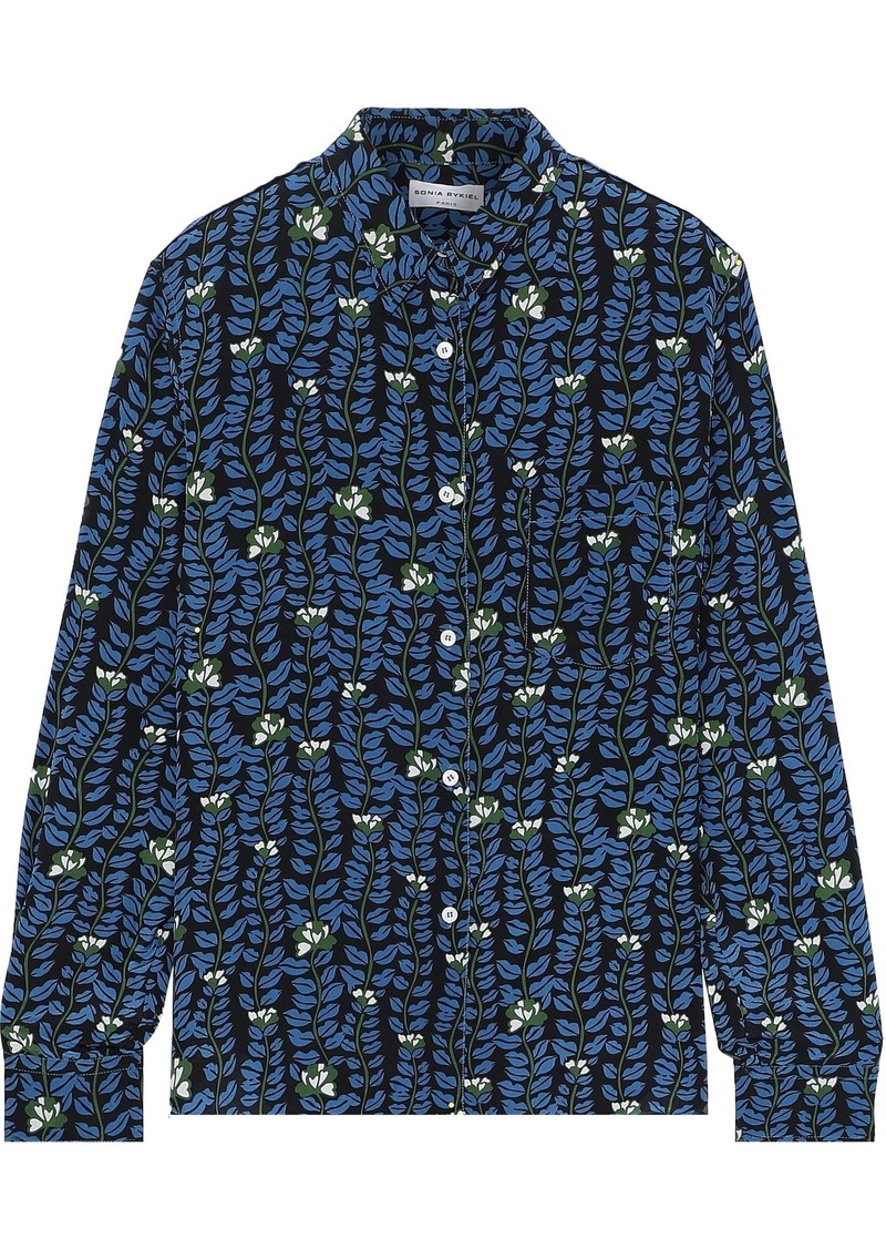 Sonia Rykiel Woman Printed Silk Crepe De Chine Shirt Blue