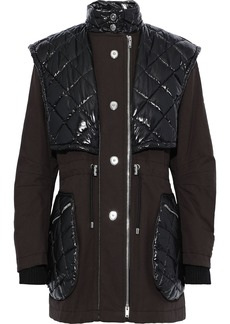 Sonia Rykiel Woman Quilted Shell-paneled Cotton-canvas Coat Dark Brown