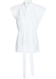 Sonia Rykiel Woman Ruffle-trimmed Cotton-jacquard Top White
