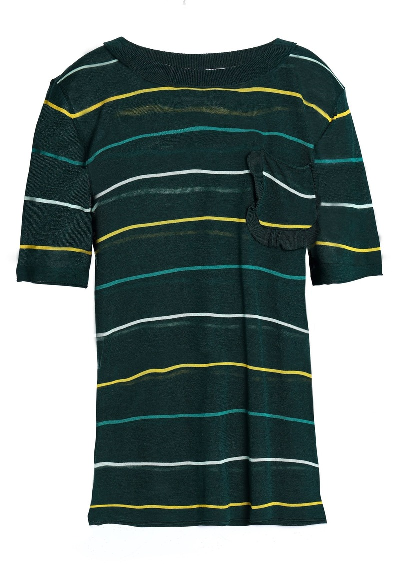 Sonia Rykiel Woman Ruffle-trimmed Striped Silk And Cotton-blend Sweater Dark Green