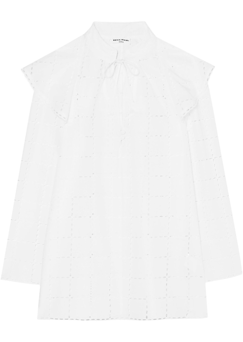 Sonia Rykiel Woman Ruffled Broderie Anglaise Cotton Blouse White