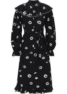 Sonia Rykiel Woman Ruffled Printed Silk Crepe De Chine Midi Dress Black