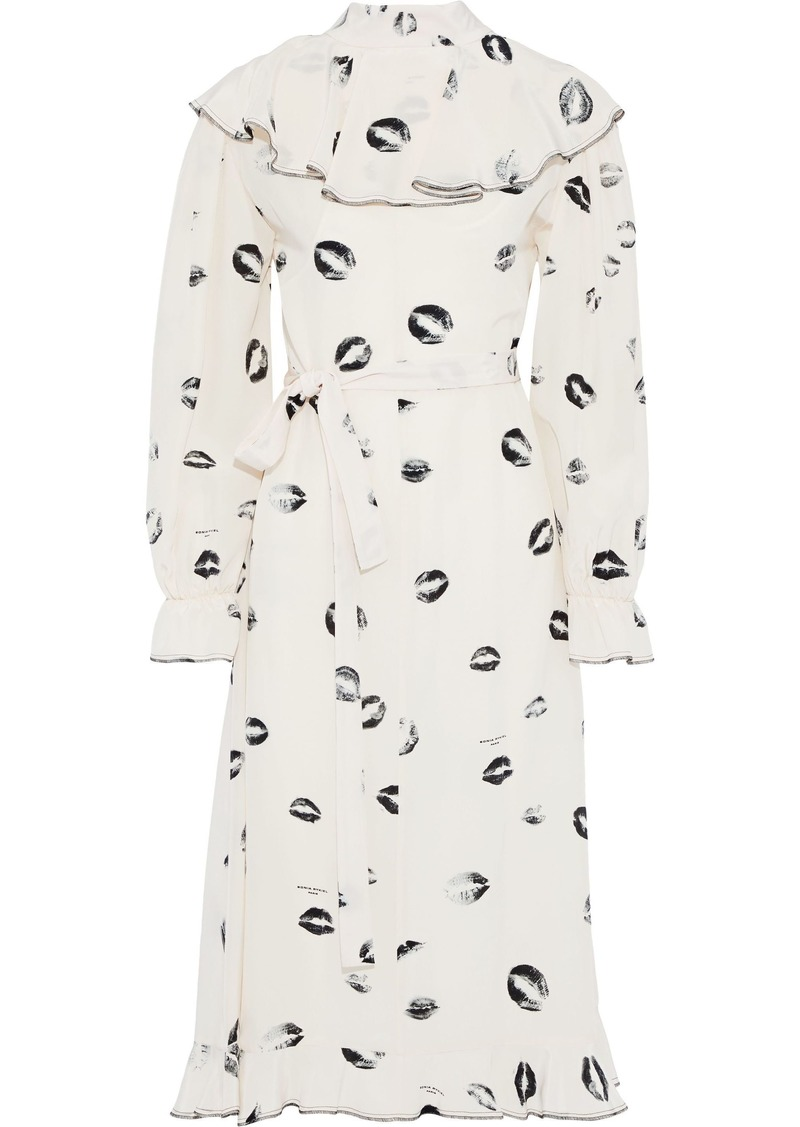 Sonia Rykiel Woman Ruffled Printed Silk Crepe De Chine Midi Dress Ecru