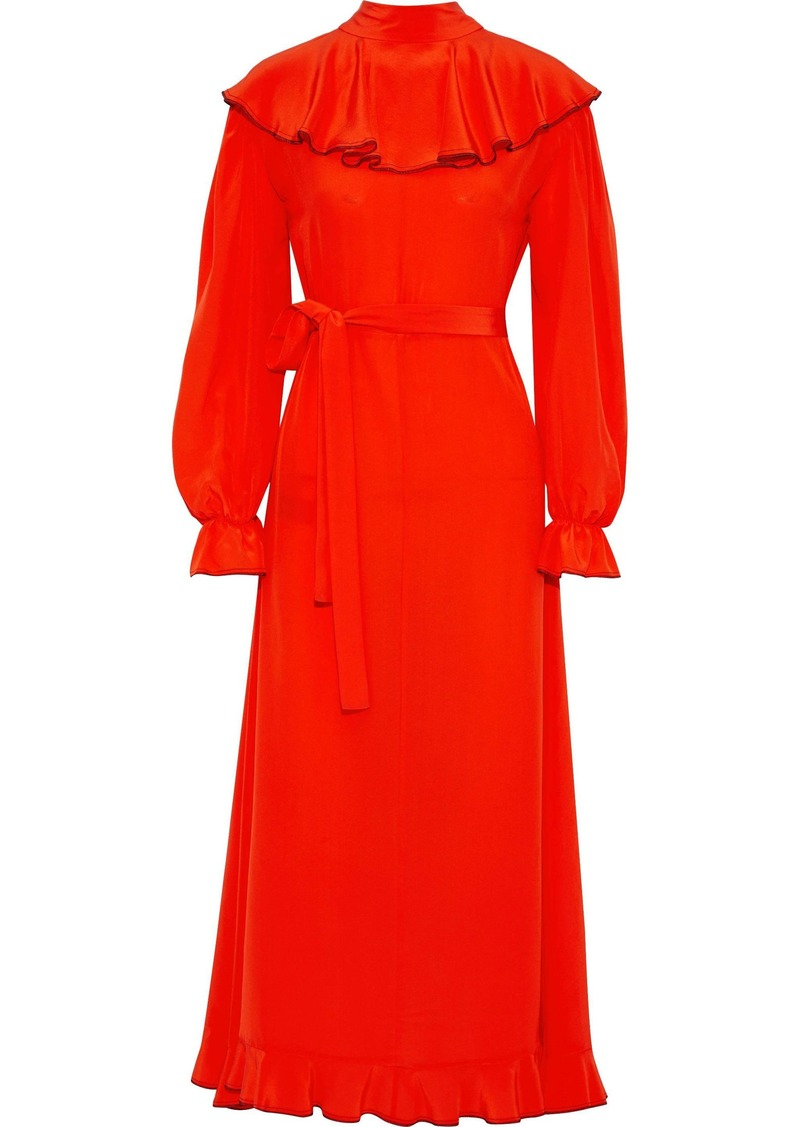 Sonia Rykiel Woman Ruffled Silk Crepe De Chine Maxi Dress Papaya