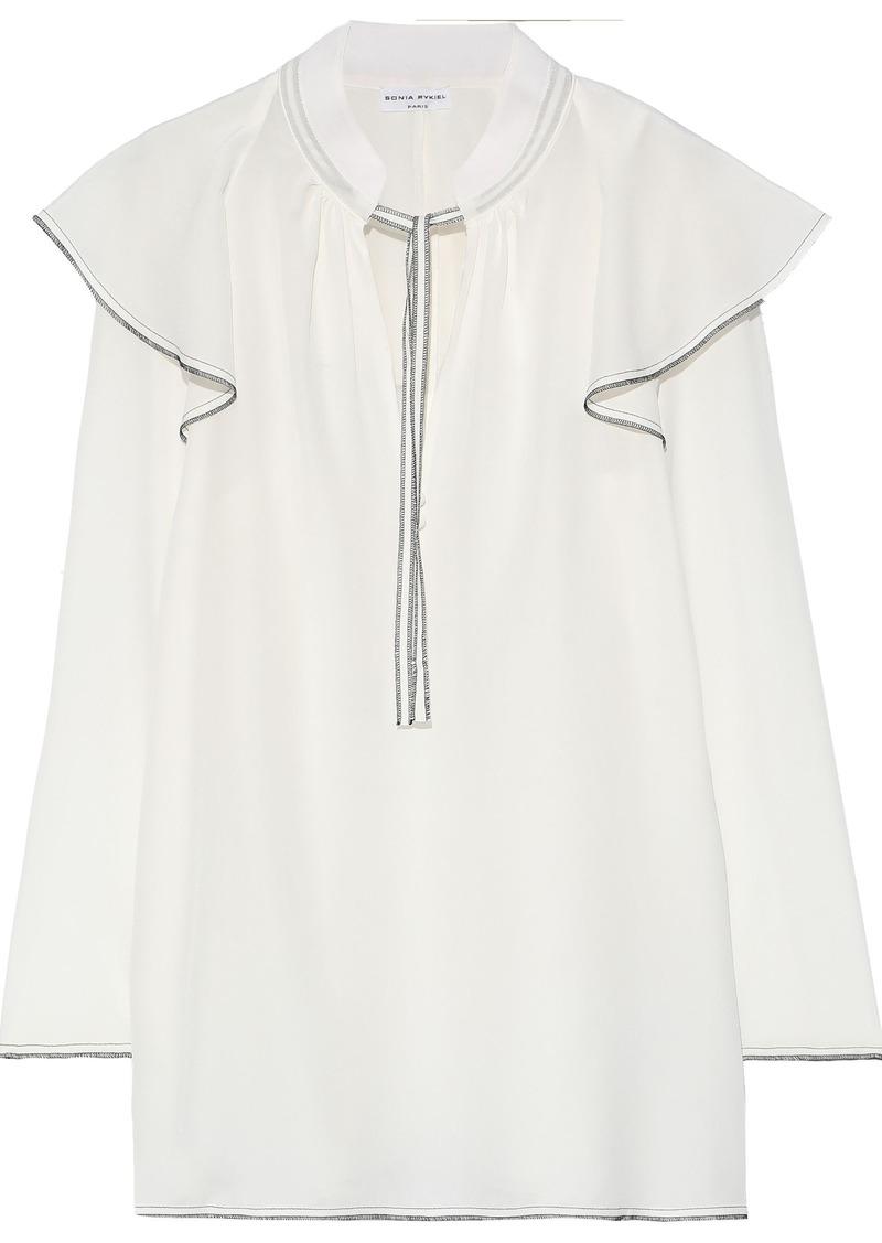 Sonia Rykiel Woman Ruffled Washed-silk Blouse White