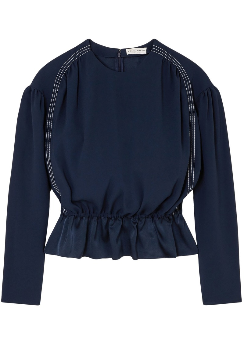 Sonia Rykiel Woman Satin-crepe Peplum Top Navy