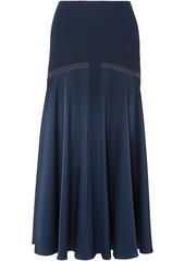 Sonia Rykiel Woman Satin-paneled Crepe Midi Skirt Storm Blue