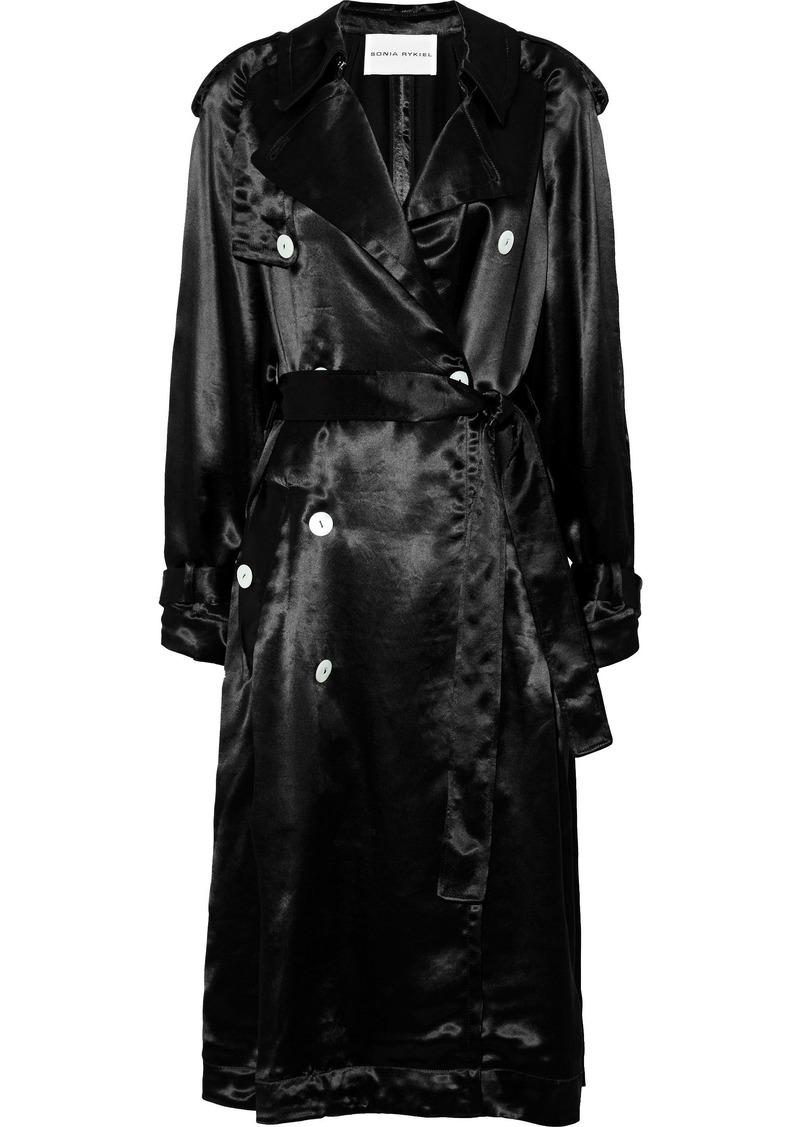Sonia Rykiel Woman Satin Trench Coat Black