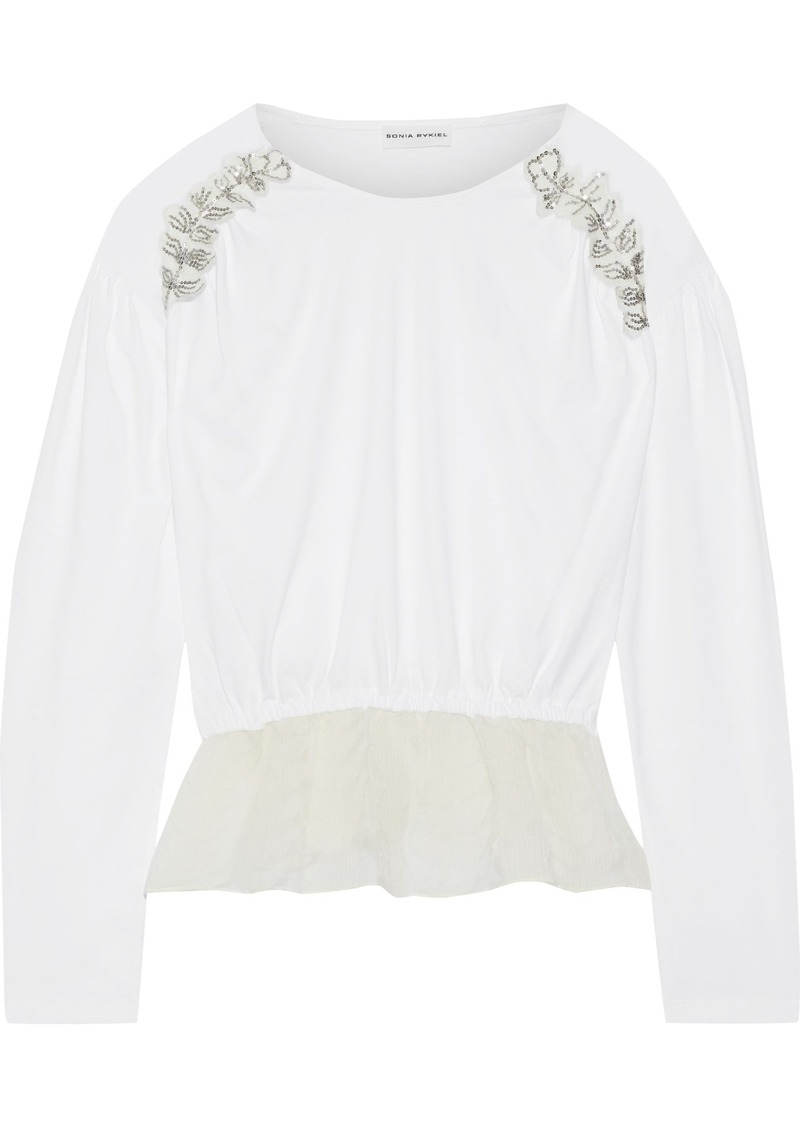 Sonia Rykiel Woman Sequin-embellished Cotton-jersey And Fil Coupé Silk-organza Top White