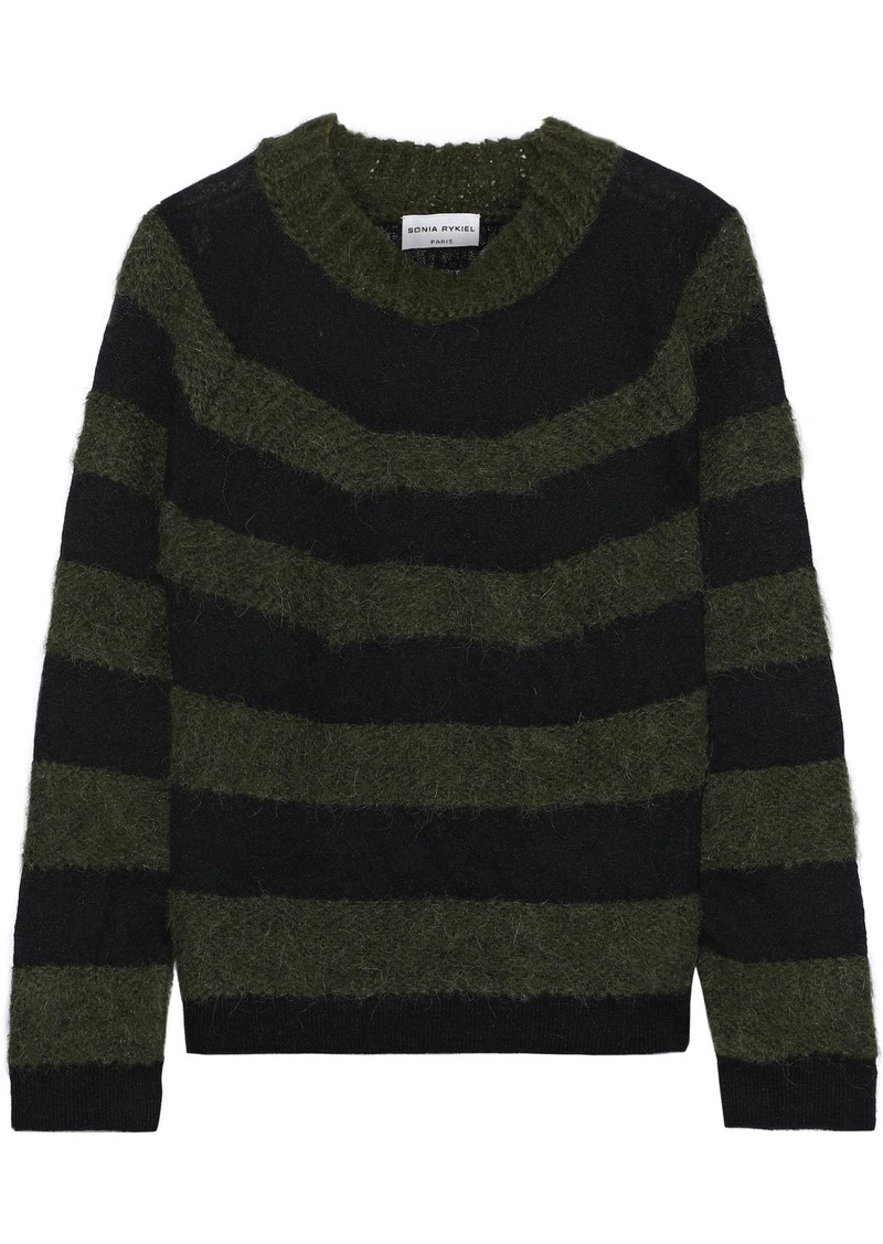 Sonia Rykiel Woman Striped Brushed Intarsia-knit Sweater Army Green