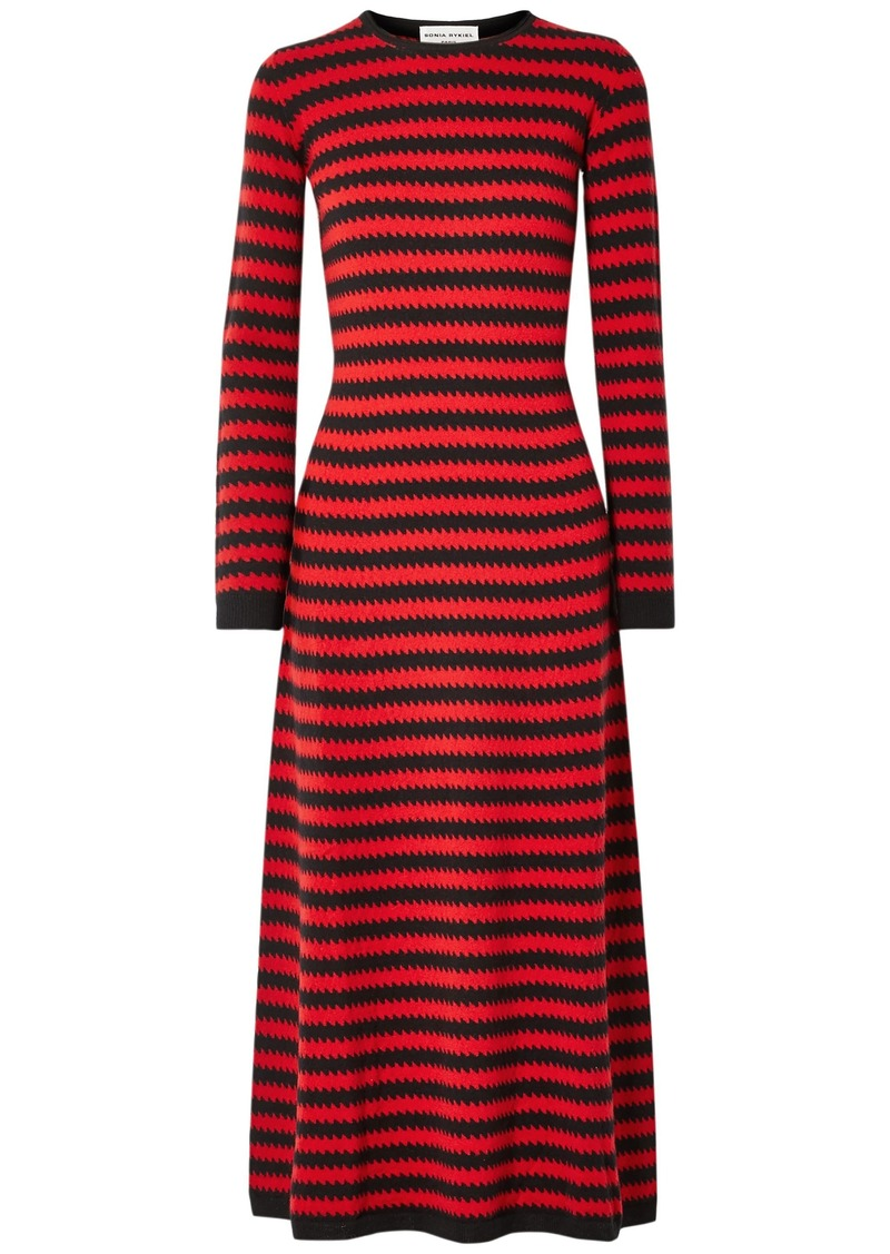 Sonia Rykiel Woman Striped Cashmere Midi Dress Red