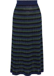 Sonia Rykiel Woman Striped Metallic Crochet-knit Midi Skirt Navy