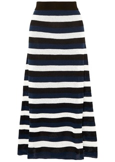 Sonia Rykiel Woman Striped Open-knit Wool-blend Maxi Skirt Navy