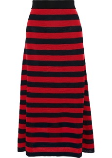 Sonia Rykiel Woman Striped Open-knit Wool-blend Maxi Skirt Red