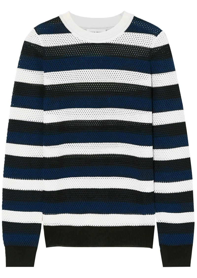 Sonia Rykiel Woman Striped Open-knit Wool-blend Sweater Navy